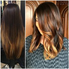 Hair Makeover! Grown out ombre transformed into a long honey blonde balayage a-lined bob over a warm brunette base. #Styledbykate Instagram: @Styledbykate_