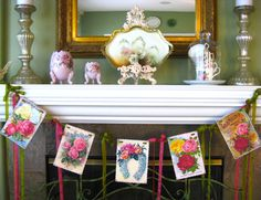 Rose Garden Cottage Garland Bunting Banner by beehivecottage