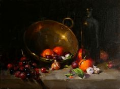 Tangerines, Onions, and Grapes, painting by artist Qiang Huang