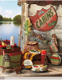 for the cabin ~amazing idea paint picnic basket. Lodge Look, Lodge Style, Vintage Cabin, Decor Vintage, Vintage Stuff, Lake Cabins, Lake Cottage, Lodge Decor, Vintage Fishing