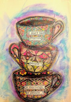 ART JOURNAL PAGE | COFFEE CUPS | Nika In Wonderland Art Journaling and Mixed Media Tutorials