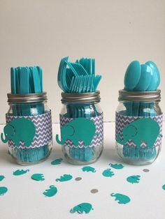 Grey and white chevron and teal elephant madin jar utensil holder , babyshower , birthday party