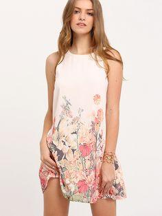 61924155aff Multicolor Sleeveless Flower Print Dress Tank Top Dress