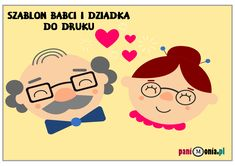 szablon babcia i dziadek Diy And Crafts, Crafts For Kids, Techno, Stampin Up, Snoopy, Comics, Fictional Characters, Grandparents, Business