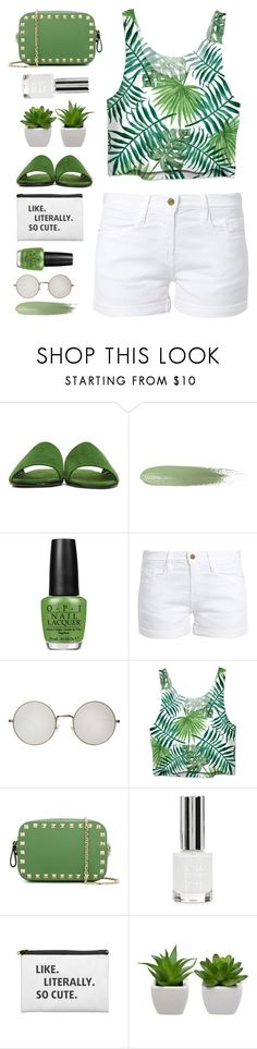 """""""leafy greens"""" by countrycousin ❤ liked on Polyvore featuring Alumnae, OPI, Frame, Illesteva, Valentino and Topshop"""