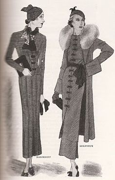Indispensible to the cruise wardrobe, or to any smart wardrobe, is the knitted dress or suit, and here is one (first, below) from a new designer, Mme. Nagornoff. Interesting are the suits she makes of unbleached cotton thread, and particularly good are suits with short fitted jackets worn with knitted cap and tri-colored knitted scarf. Useful for general travel is a coat and dress costume like the one below [right] from Molyneux, of beige djalap. Djalap is a thin, hairy-surfaced material…