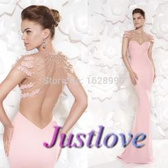 Find More Prom Dresses Information about Romatic O neck Beading Flowers Open Back Pink Mermaid Long Prom Dresses 2015 vestidos de fiesta largos Evening Party Dresses,High Quality dress christian,China dress lobster Suppliers, Cheap dress up games wedding dress from Justlove international wedding dress Ltd. on Aliexpress.com