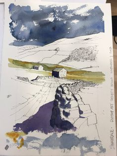 From my sketchbooks…. – Drawn in Yorkshire Landscape Sketch, Landscape Drawings, Watercolor Landscape, Landscape Paintings, Landscapes, Oil Painting Techniques, Watercolor Techniques, Art Techniques, Watercolor Sketch