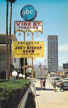 Joey Bishop Show ABC) was filmed at The Vine Street Theatre, 1313 North Vine Street, Los Angeles. Travel California USA Saw the show when I was Images Of California, Vintage California, California Dreamin', Hollywood California, Los Angeles Hollywood, Cities, Los Angeles Area, City Of Angels, Vintage Hollywood