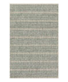 Look what I found on #zulily! Gray & Teal Stripe Indoor/Outdoor Rug #zulilyfinds