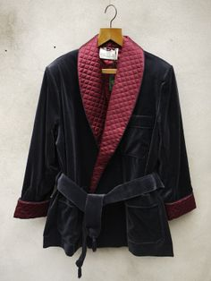 Navy Smoking Jacket by Tails and the Unexpected. Navy smoking jacket individually tailored in Milan for Tails and the Unexpected. Silk quilted cuffs and lapels in contrasting burgundy. Made to the highest specifications. Party Wear Blazers, Velvet Smoking Jacket, Christmas Party Wear, Dressing, Satin Jackets, Velvet Blazer, Vintage Denim, Blazer Jacket, Tuxedo Jacket