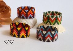 Beaded ring, peyote ring, seedbead arrow patterned ring with fashionable vivid colours in band style unique handmade beadwork