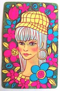 1960's playing card with flower power illustration