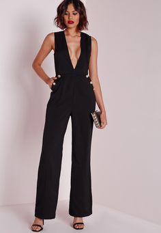 Missguided - Button Detail Plunge Jumpsuit Black