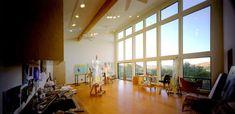 Artist's studio bathed in added natural light.