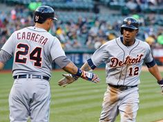 Tigers centerfielder Anthony Gose is congratulated