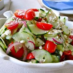 Cucumber Tomato & Feta Salad Recipe for 4th of July | 4th of Juy Pasta Salad