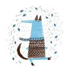 Roller Dog via Hollow Log Blog (via The Merry Blog) #HollowLogBlog #blue #sweater #dog
