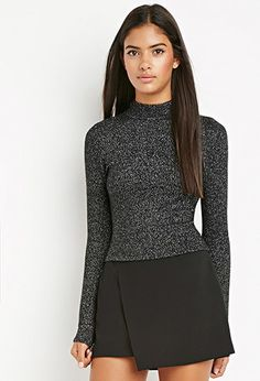 Contemporary Metallic Mock Neck Sweater | Forever 21 Contemporary - 2000154057