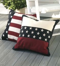 "18"" sq. Weather-Resistant Cotton Americana Embroidered Star Band Pillow"