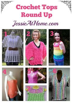 Crochet Tops Round Up from Jessie At Home - I could improvise a bit on a couple of these I suppose Crochet Round, Free Crochet, Crochet Tops, Knit Crochet, Crochet Shrugs, Crochet Sweaters, Tunisian Crochet, Crochet Patron, Crochet Fashion