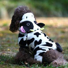 Macacão de lã com capuz cão vaca de pelúcia casaco quente de inverno de pano traje alishoppbrasil