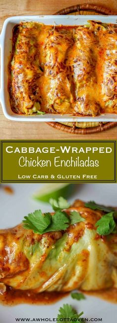 Cabbage Wrapped Chicken Enchiladas - A Whole Lotta Oven