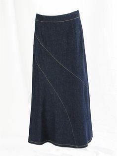Diagonal Stretch Long Jean Skirt 39