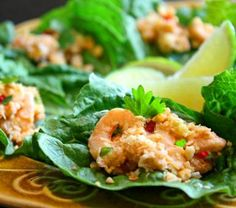 No One Can Resist Scrumptious Mini Shrimp Lettuce Wraps: Amazing Thai Shrimp Lettuce Wraps - perfect for a party!