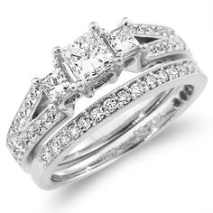 Fancy Three Stone Princess Cut Engagement Ring Set