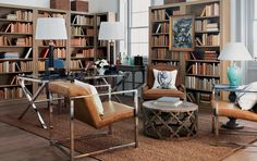 Inspired by gentlemen's smoking rooms and old-fashioned libraries, this Georgian study (adorned with leather and steel) has been divided to encourage a good work/life balance. Wall-to-wall bookcases provide storage for hoards of books, and a small bar area close to the desk acknowledges the transition from work time to leisure time.