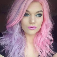cotton candy hair pastel mermaid hair two tone pink purple unicorn hair Pink Peach Hair, Pink Ombre Hair, Hair Color Purple, Pastel Hair, Cool Hair Color, Pastel Pink, Unicorn Hair Color, Purple Unicorn, Cotton Candy Hair