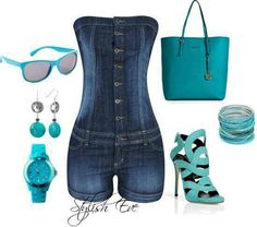 Cute jean rumper with teal accessories. Summer outfit