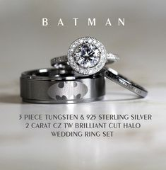 anillo BATMAN Tungsten and 925 Sterling Silver Blue Sapphire CZ Wedding Ring 3Piece Set, 8mm Men's Ring