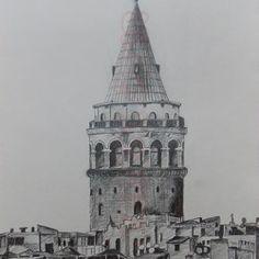 İstanbul Galata Kulesi Karakalem Aşamalı Çizimi (37) Paris Skyline, Turkey, Tower, Sketches, Drawings, Building, Painting, Travel, Art