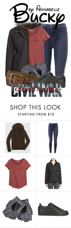 """""""CIVIL WAR!! - Bucky Barnes"""" by annabelle-95 ❤ liked on Polyvore featuring J.Crew, J Brand, H&M, Hunter, Timberland and adidas Originals"""