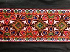 Black Orange Broad Embroidered Trim,Indian Mirror Trim,Kutchi Border,Boho Gypsy Tribal Mirror Lace,B Embroidery Works, Embroidery Motifs, Indian Embroidery, Hand Embroidery Designs, Mirror Trim, Mirror Work, Kutch Work Designs, Saree Border, Indian Crafts