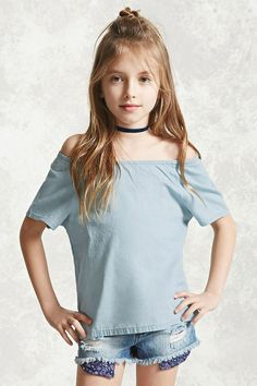 Forever 21 Girls - A chambray top featuring an elasticized off-the-shoulder neckline and short sleeves.