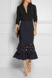 Ruffled scuba and tech-jersey skirt