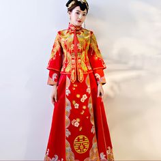 Shop elegant silk cheongsam, traditional Chinese red bridal dresses, sexy modernize Qipao from www.ModernQipao.com. Save 6% by share our products. Double phoenix embroidered red Chinese mandarin collar bridal evening dress