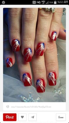 of July nails, red nails with blue white fan brush accents, silver glitter free hand nail art by monica Fingernail Designs, Cool Nail Designs, Nail Designs For Summer, Pretty Designs, Fancy Nails, Pretty Nails, Firework Nail Art, Usa Nails, Patriotic Nails