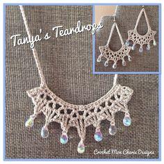 Earrings & Necklace Tanya's Tears PATTERN by CrochetMonCherie