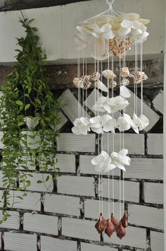 Items similar to White Seashell Wind Chimes Seashell Wind Chimes, Diy Wind Chimes, Seashell Art, Seashell Crafts, Beach Crafts, Clay Pot Crafts, Diy Crafts, Seashell Projects, Wine Bottle Crafts