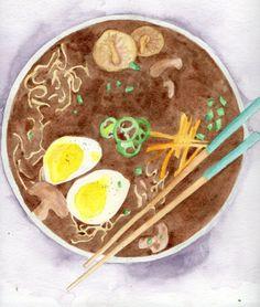 Ramen Watercolor Print, Japanese Ramen Noodle Art, Asian Soup Art Print, Home Decor Painting, Food Illustration, Food Art