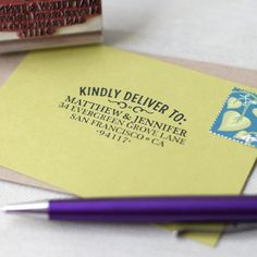 Designed with your RSVP cards in mind, this personalized rubber stamp pairs perfectly with my WOOD TYPE return address stamp. Simply stamp this vintage inspired Kindly Deliver To stamp on the front of