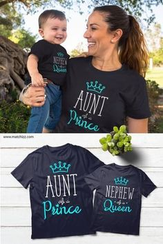 Aunt and Nephew Matching Shirts Auntie Queen and Prince Gift Aunt of a Prince Nephew of a Queen Matching Shirts Unisex T-shirt combed and ring-spun cotton and 30 singles Rib-Knit Crew Neck Double-needle sleeves and hemBaby Bodysuit oz. Aunt And Niece Shirts, Nephew And Aunt, Aunt And Nephew Quotes, Aunt Baby Clothes, Aunt Quotes, Baby Shower Shirts, Aunt Gifts, Nephew Gifts, Friend Gifts