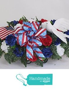 XL Patriotic Cemetery Graveside Saddle Arrangement in Red, White and Blue Roses from Crazyboutdeco Deco Mesh Wreaths and Cemetery Arrangements https://www.amazon.com/dp/B01BK3LZI6/ref=hnd_sw_r_pi_dp_xJeExbK8E7J95 #handmadeatamazon