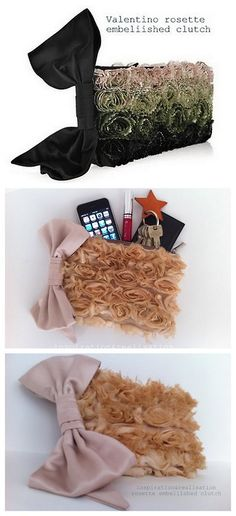 DIY  Valentino Inspired Rosette Embellished Clutch tutorial from inspiration & realisation
