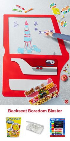 Banish holiday road trip boredom by planning a travel game of window Pictionary to take along. With the window as your canvas, channel your artistic side with window crayons that wipe clean. Then snack it up with treats of all types, all safe inside a carrying case. Reward each round with a snack and watch the miles fly by.