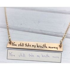Handwritten Jewelry Horizontal Gold Bar Necklace by LeosMark
